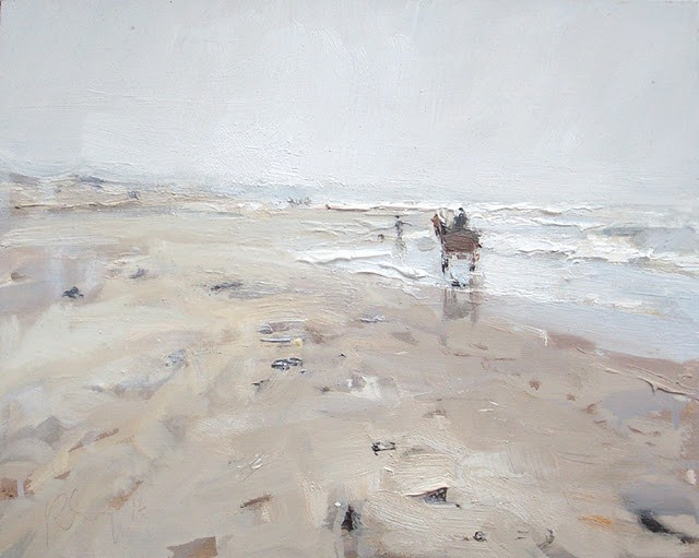"""Seascape winter #1 Horse carriage on rainy beach - zeegezicht"" original fine art by Roos Schuring"