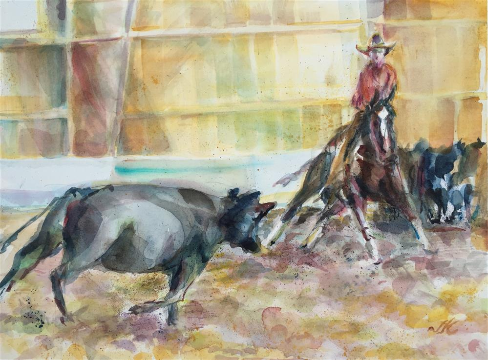 """Cattle Cutting - Westcliffe CO"" original fine art by Jean Krueger"