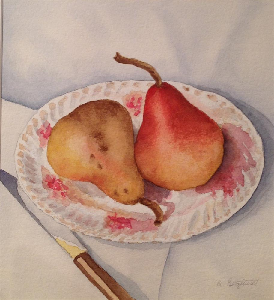 """Pair of Plated Pears"" original fine art by Marcia Bergtholdt"