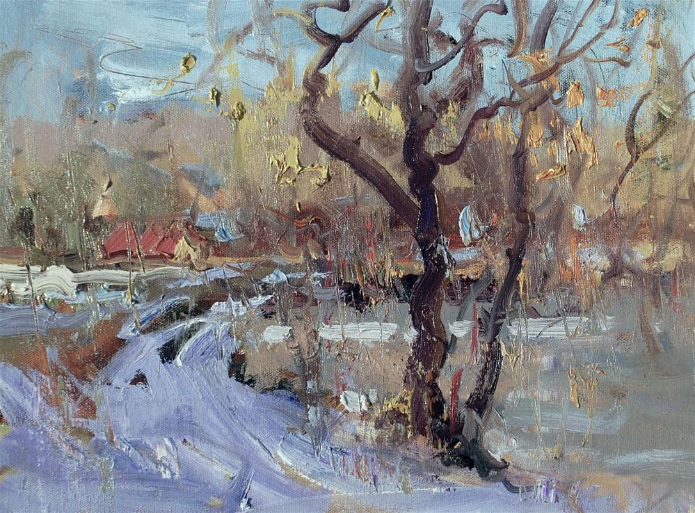 """Winter in Uxbridge"" original fine art by Mahin Gholizadeh"