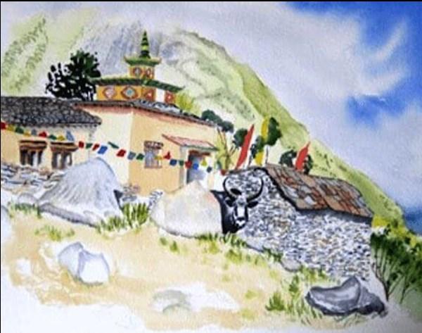 """Tibetan Gompa, Manaslu Trek, Nepal #3"" original fine art by Tim Barraud"