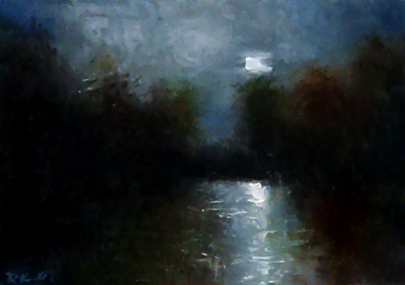 """Lunar Reflection"" original fine art by Bob Kimball"