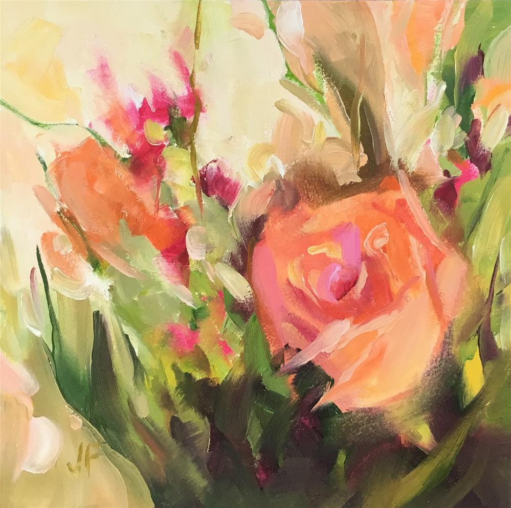 """Peach Roses"" original fine art by Jean Fitzgerald"