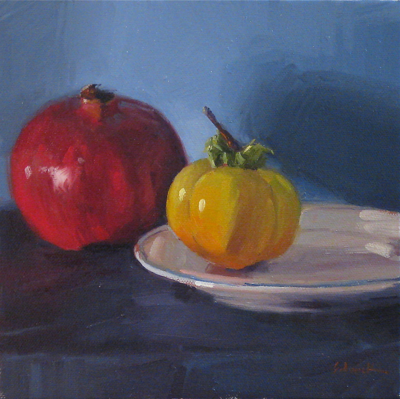 """Pomegranate and Persimmon on Blue"" original fine art by Sarah Sedwick"