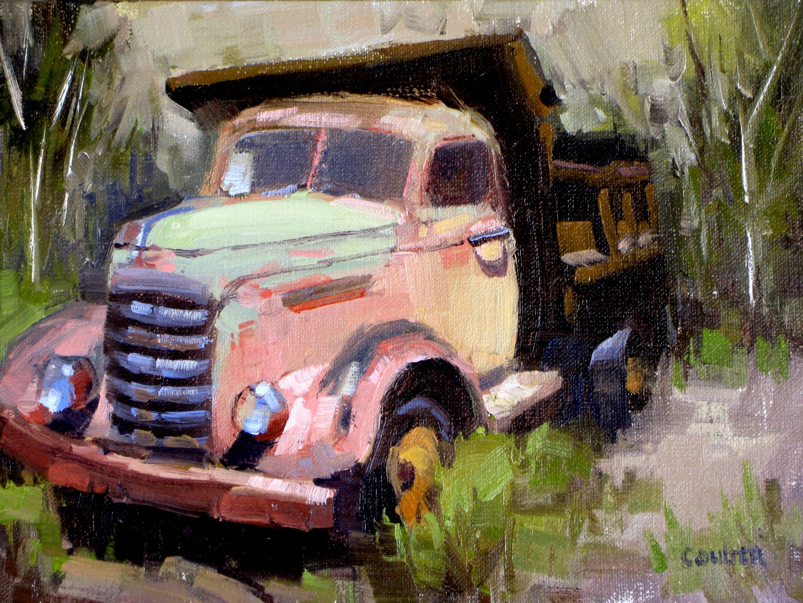 """PINK DUMP TRUCK"" original fine art by James Coulter"
