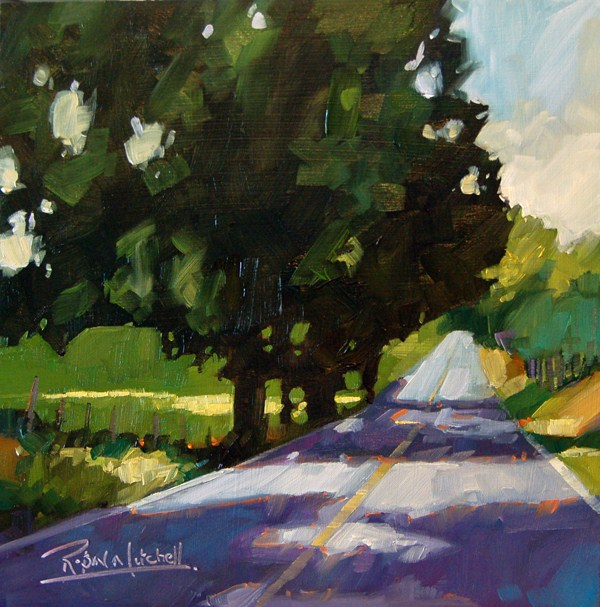 """No 490 Road from Paris"" original fine art by Robin J Mitchell"