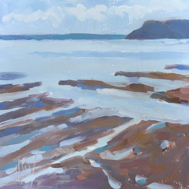 """Parrsboro 6x6 oil on panel the rapidly changing tides in the Bay of Fundy"" original fine art by Mary Sheehan Winn"
