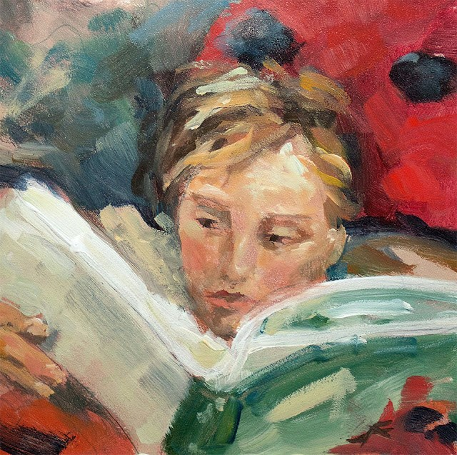 """Read"" original fine art by J. Farnsworth"