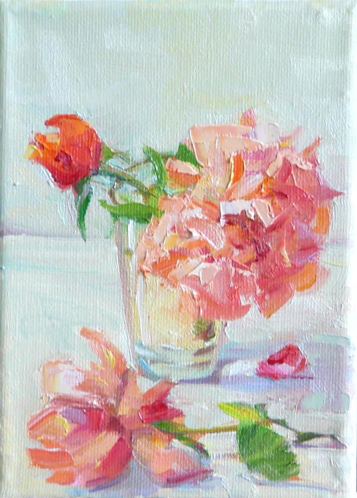 """June Roses,still life,oil on canvas,7x5,price$100"" original fine art by Joy Olney"