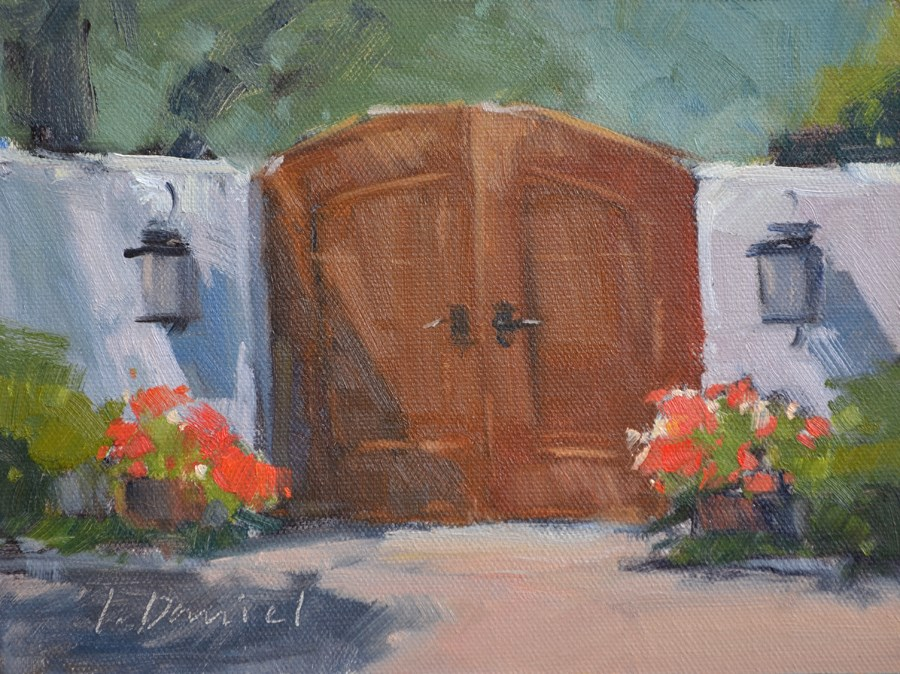 """Kathy's Garden Gate - Georgia Coast"" original fine art by Laurel Daniel"