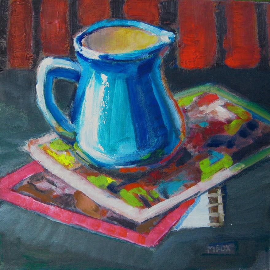 """""""Blue Creamer, still life, diner creamer,"""" original fine art by Marie Fox"""