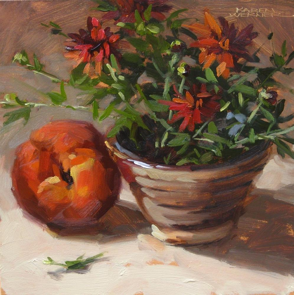 """Peach & Mum Bowl"" original fine art by Karen Werner"