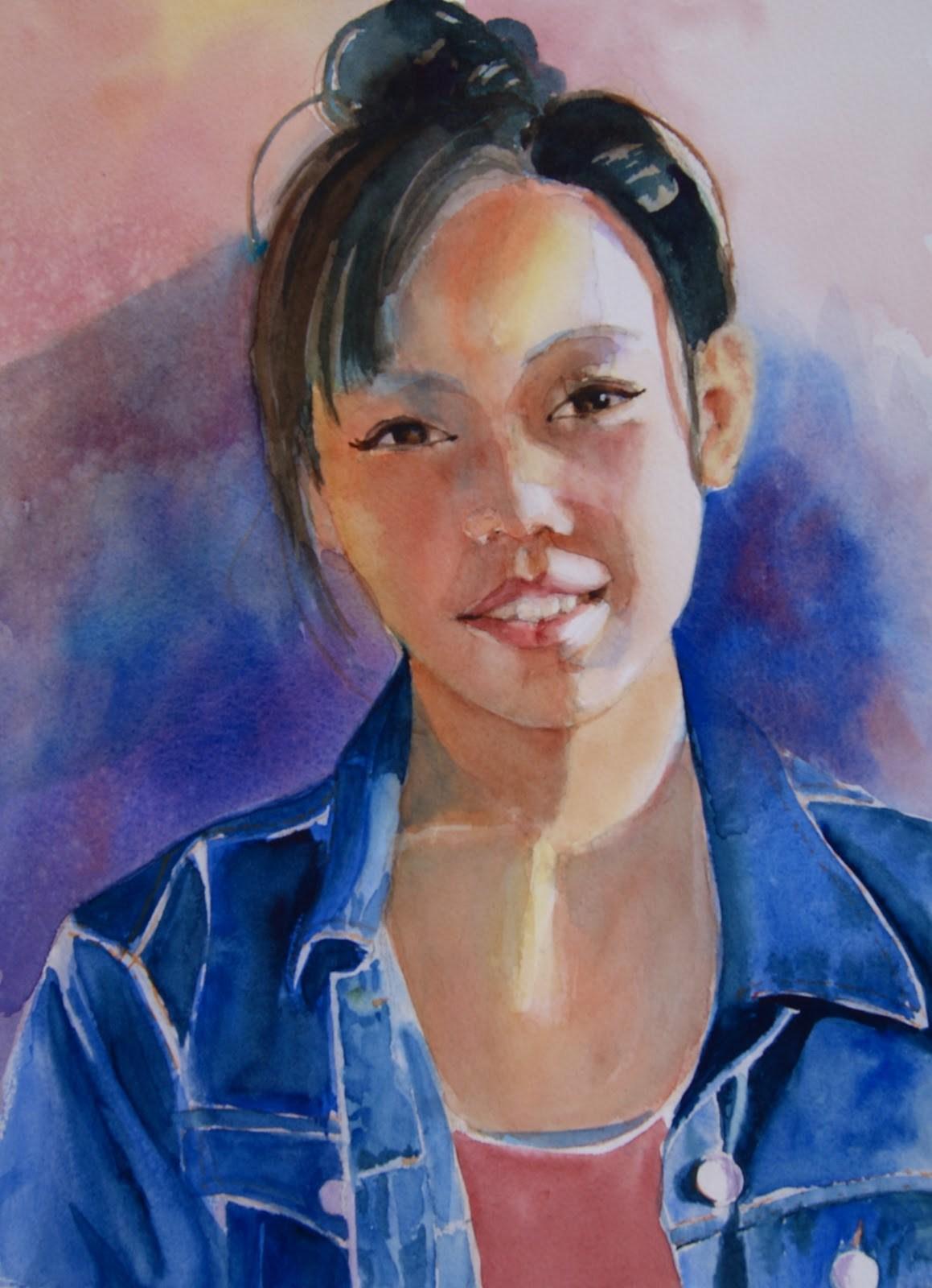 """""""Meilyn finished original watercolor"""" original fine art by Reveille Kennedy"""