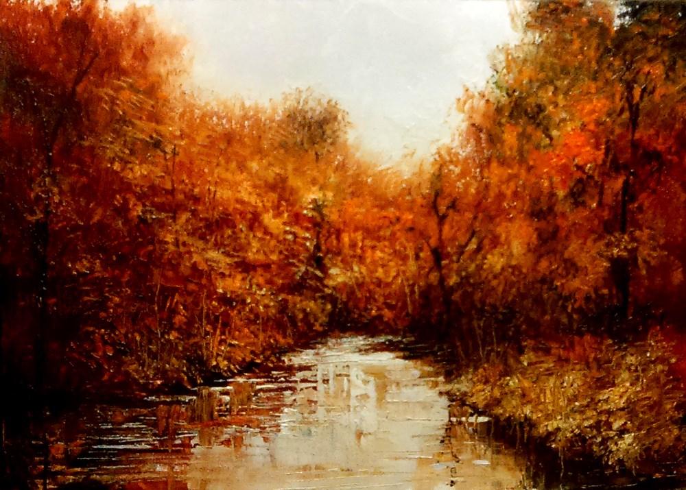 """River in Autumn"" original fine art by Bob Kimball"