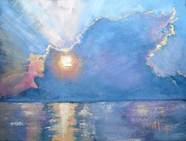"""Daily Painting, Small Oil Painting, Sky Painting, Cloud Painting Good Morning, Atlantic by Carol S"" original fine art by Carol Schiff"