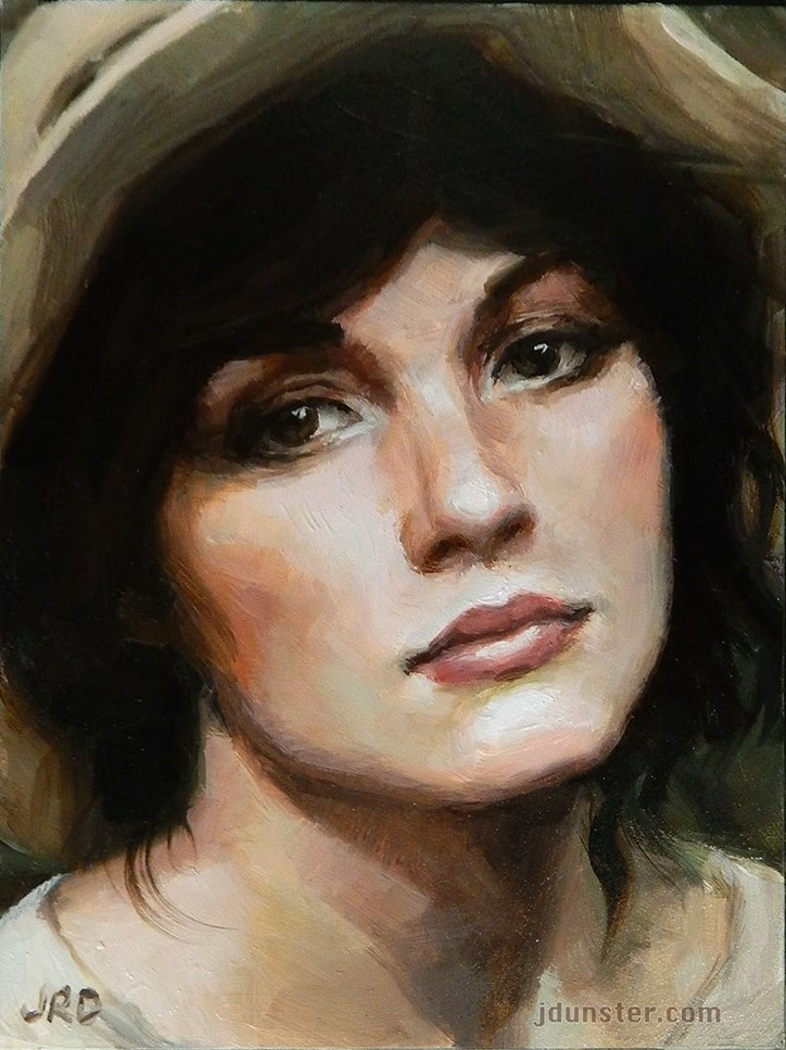 """Lady with a Hat"" original fine art by J. Dunster"
