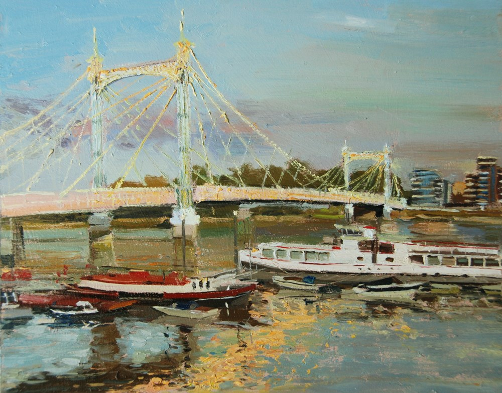 """Late afternoon Light Reflections, Albert Bridge"" original fine art by Adebanji Alade"