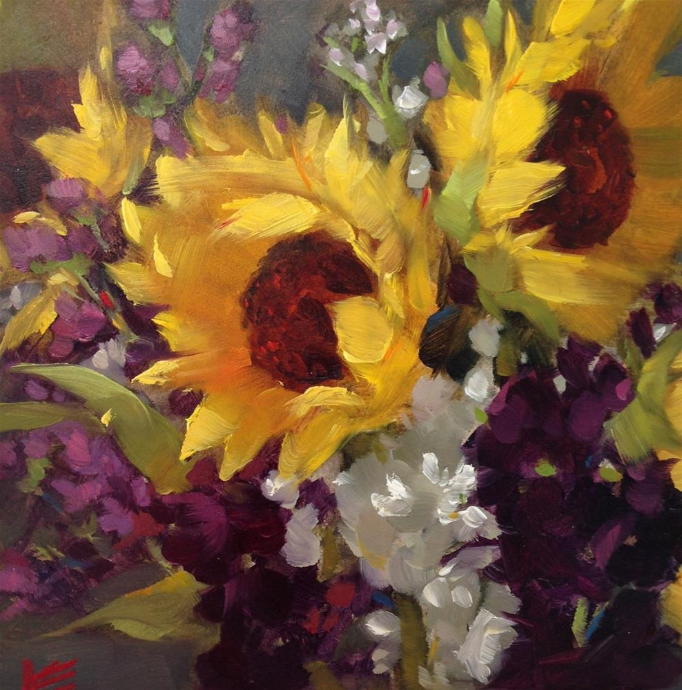 """Sunflowers & Stock II"" original fine art by Krista Eaton"