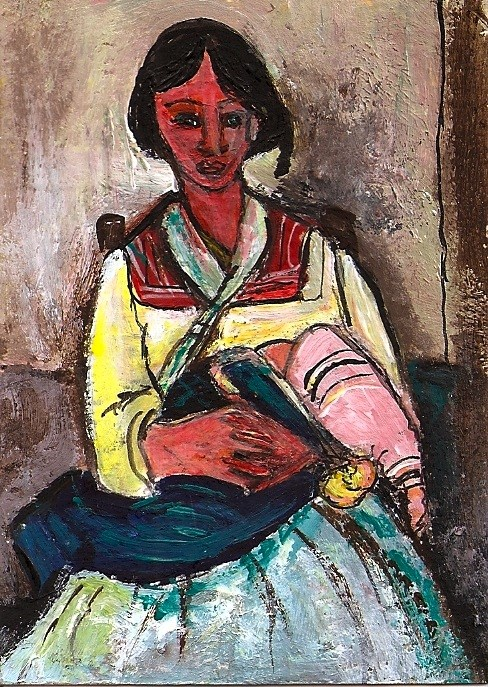 """ACEO Gypsy Woman with Baby in the style of Amadeo Modigliani Penny Stewart"" original fine art by Penny Lee StewArt"