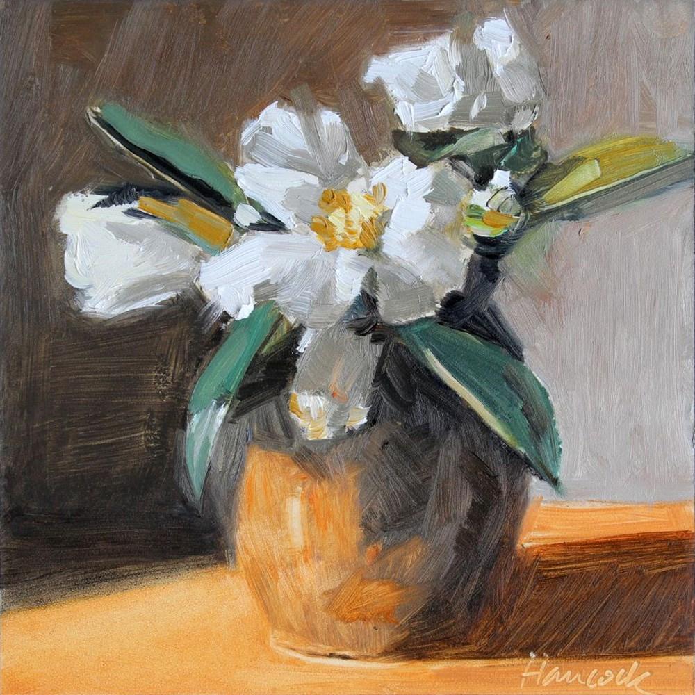 """Camellias in Pewter Pot"" original fine art by Gretchen Hancock"