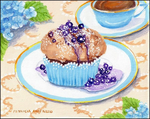 """Warm Blueberry Muffin and Tea"" original fine art by Patricia Ann Rizzo"