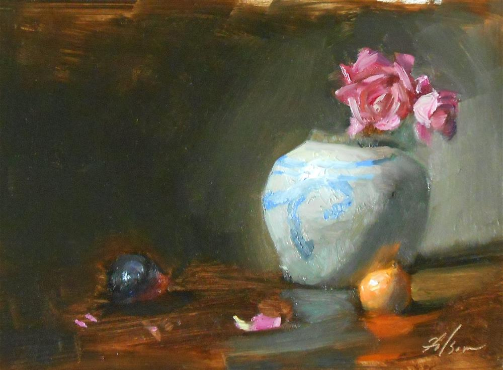 """Chinese Jar with Pink"" original fine art by Kelli Folsom"
