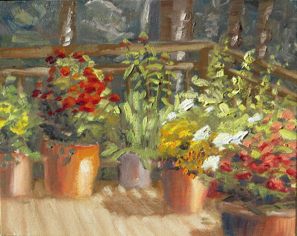 """Plants on Connie's Deck"" original fine art by Richard Kiehn"