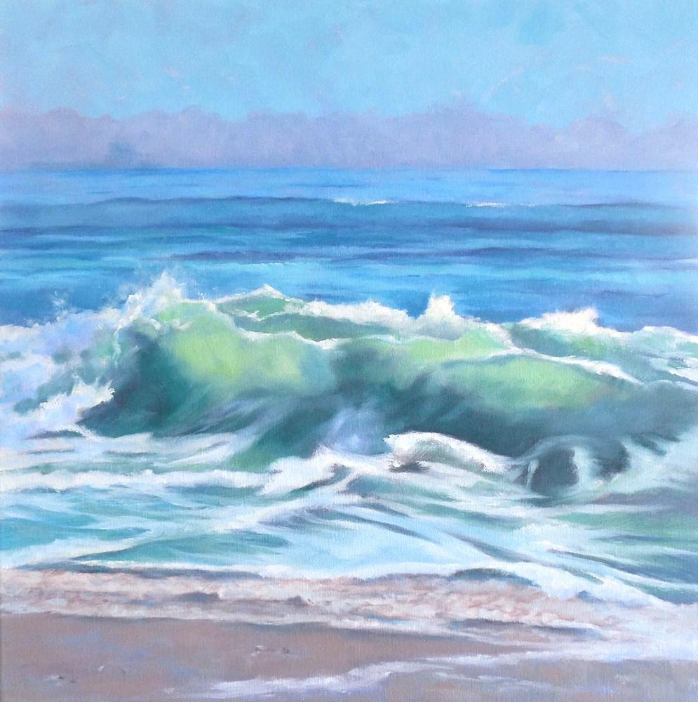 """Surf Song, 20x20 Oil on Canvas Seascape"" original fine art by Carmen Beecher"