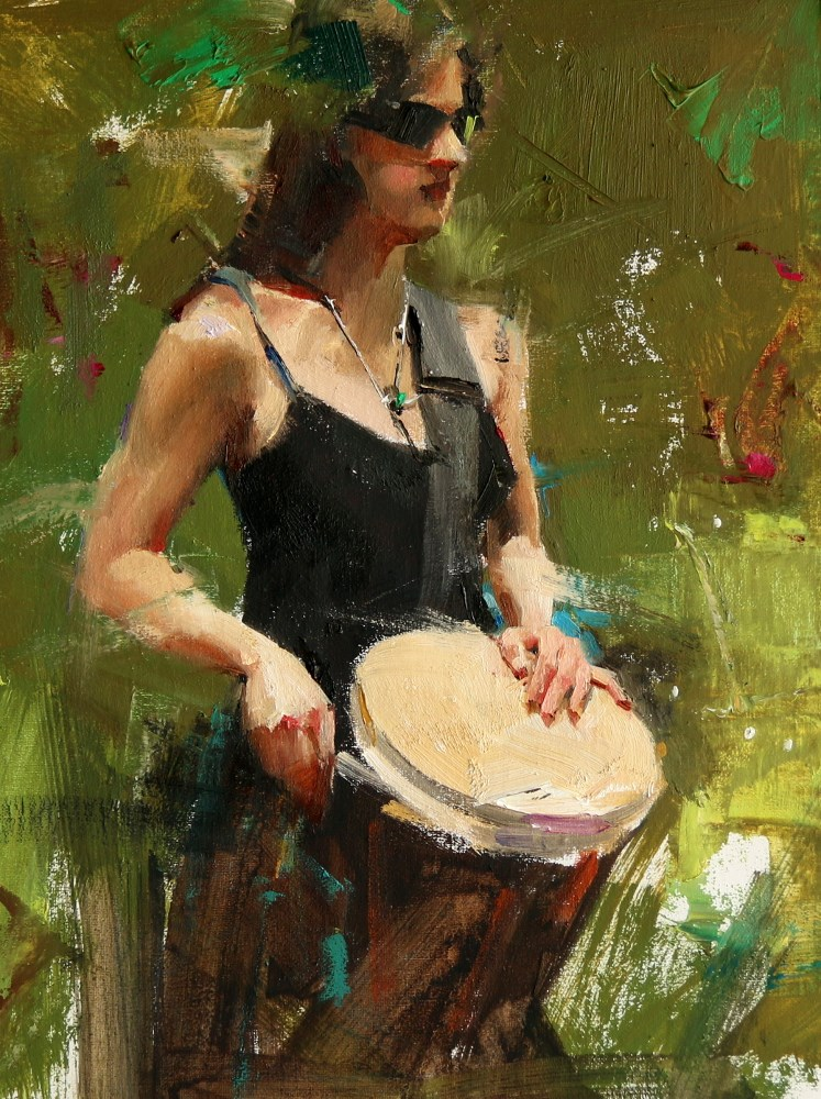 """Drummer 2"" original fine art by Qiang Huang"