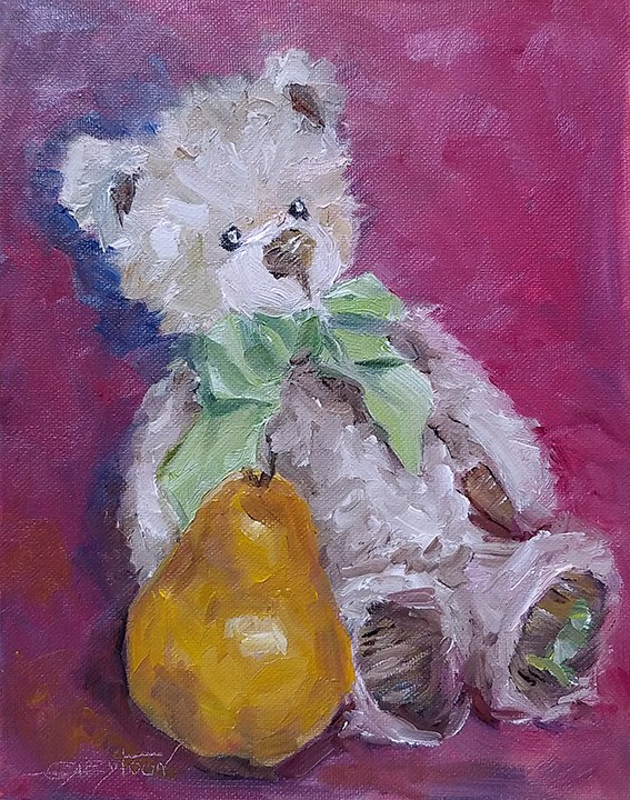 """Teddy Bear With Pear"" original fine art by Gabriella DeLamater"