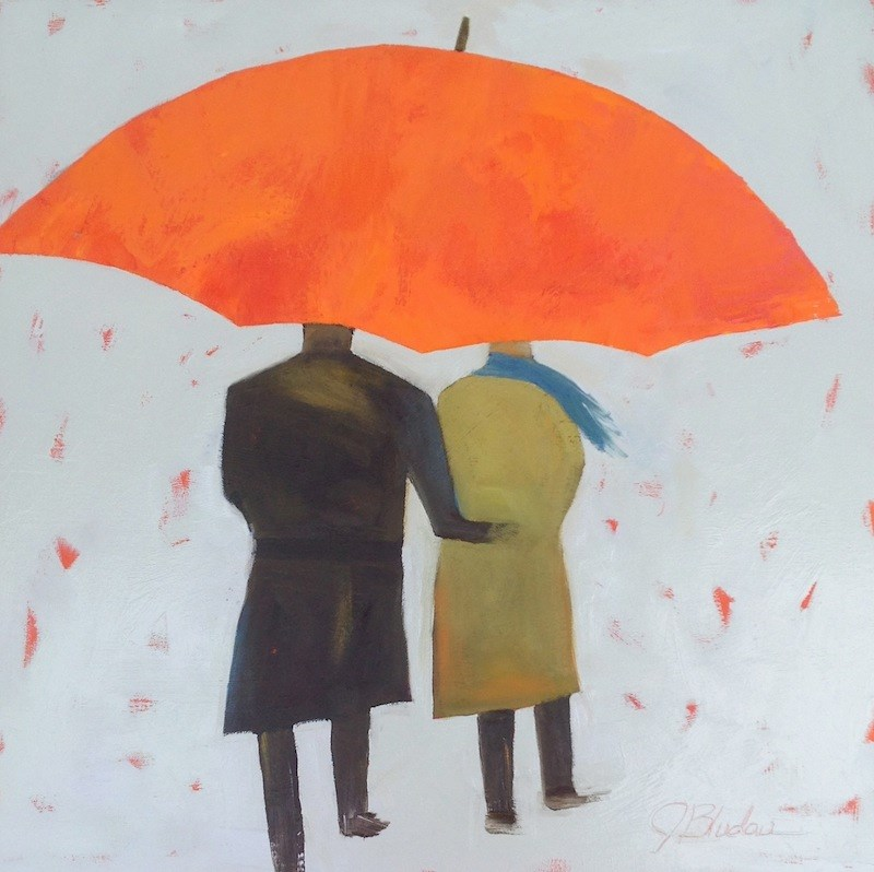 """Umbrella Couple"" original fine art by Janet Bludau"