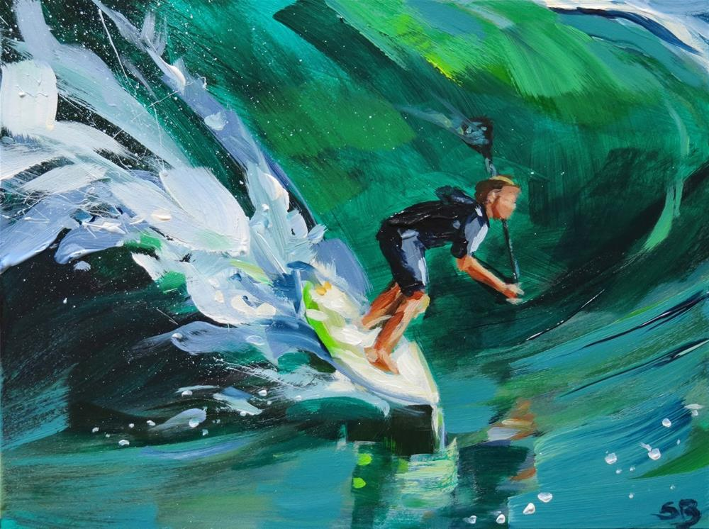 """Big Wave Paddler"" original fine art by Shari Buelt"