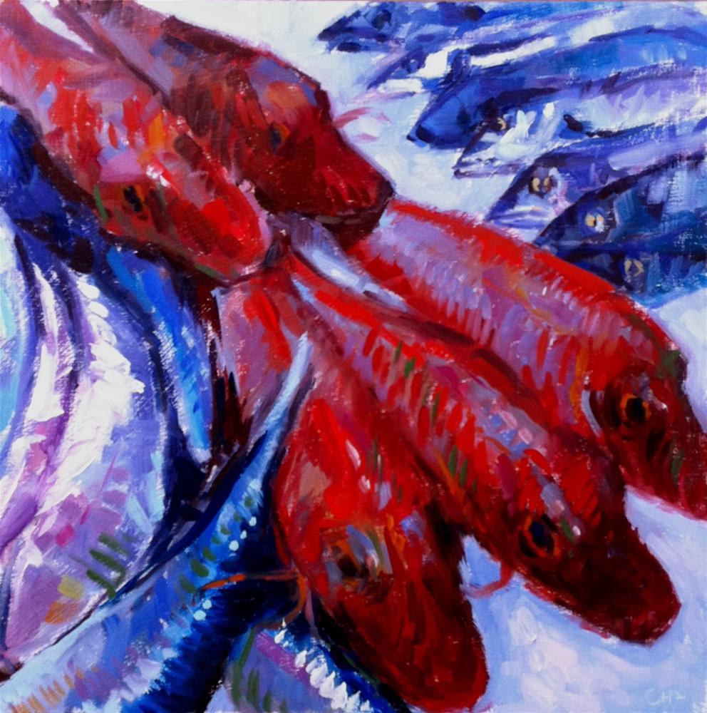 """red mullet party"" original fine art by Catherine Harley"