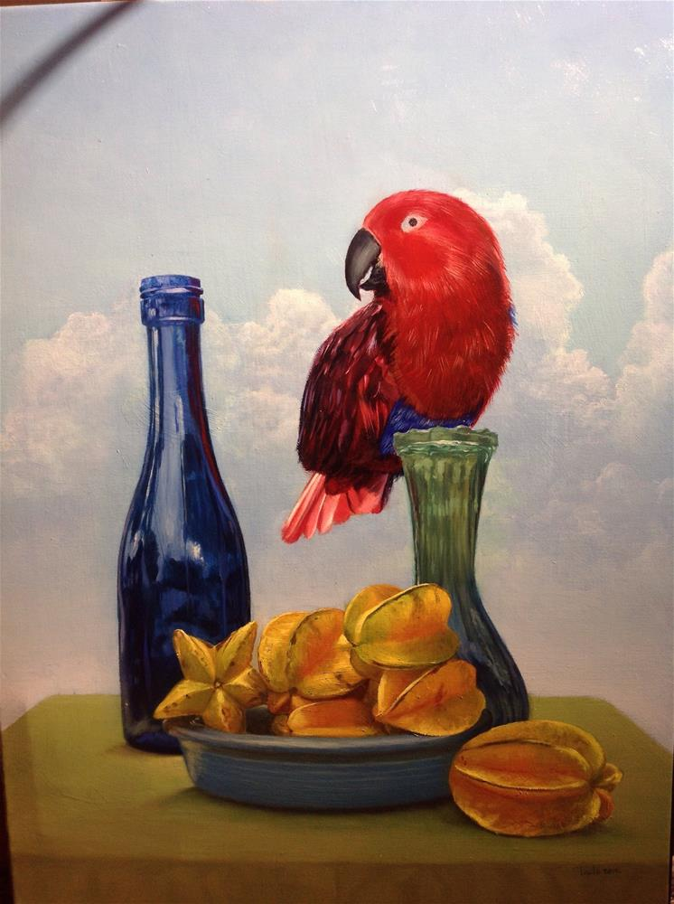 """Eclectus parrot – work in progress"" original fine art by Paulo Jimenez"