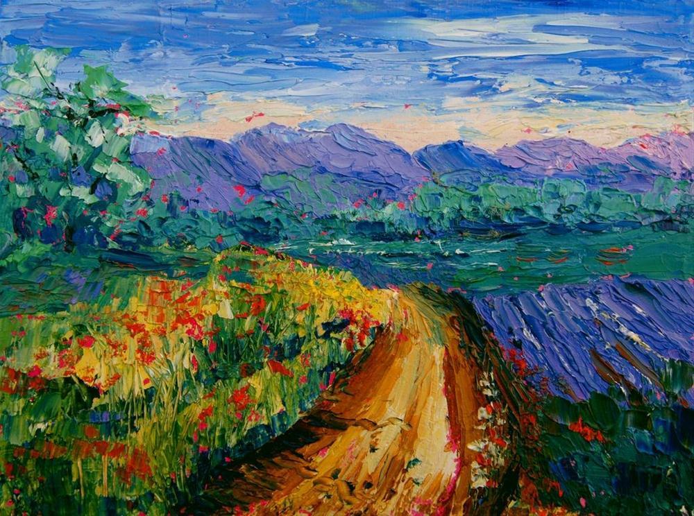"""Provence landscape knife painting #1 by Marion Hedger"" original fine art by Marion Hedger"