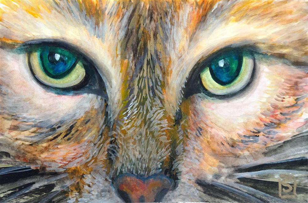"""6033 - Cool Cat in soft white 8 x 10 mat"" original fine art by Sea Dean"