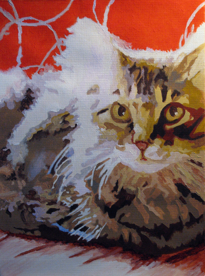 """Here Kitty"" original fine art by Nan Johnson"