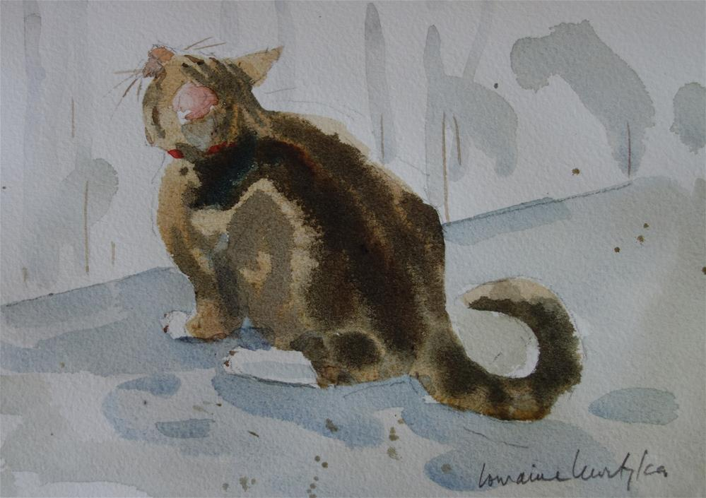"""Jumping Cat #1"" original fine art by Lorraine Lewitzka"