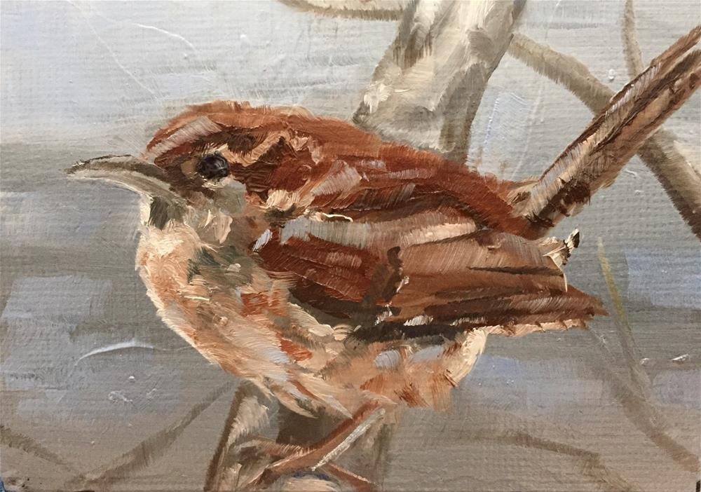 """Carolina Wren"" original fine art by Gary Bruton"