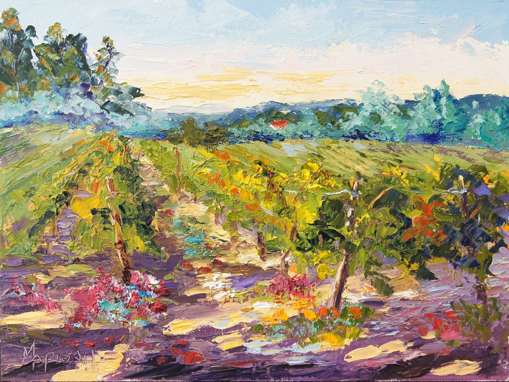 """Evening Shadows over the Vineyard"" original fine art by Marion Hedger"