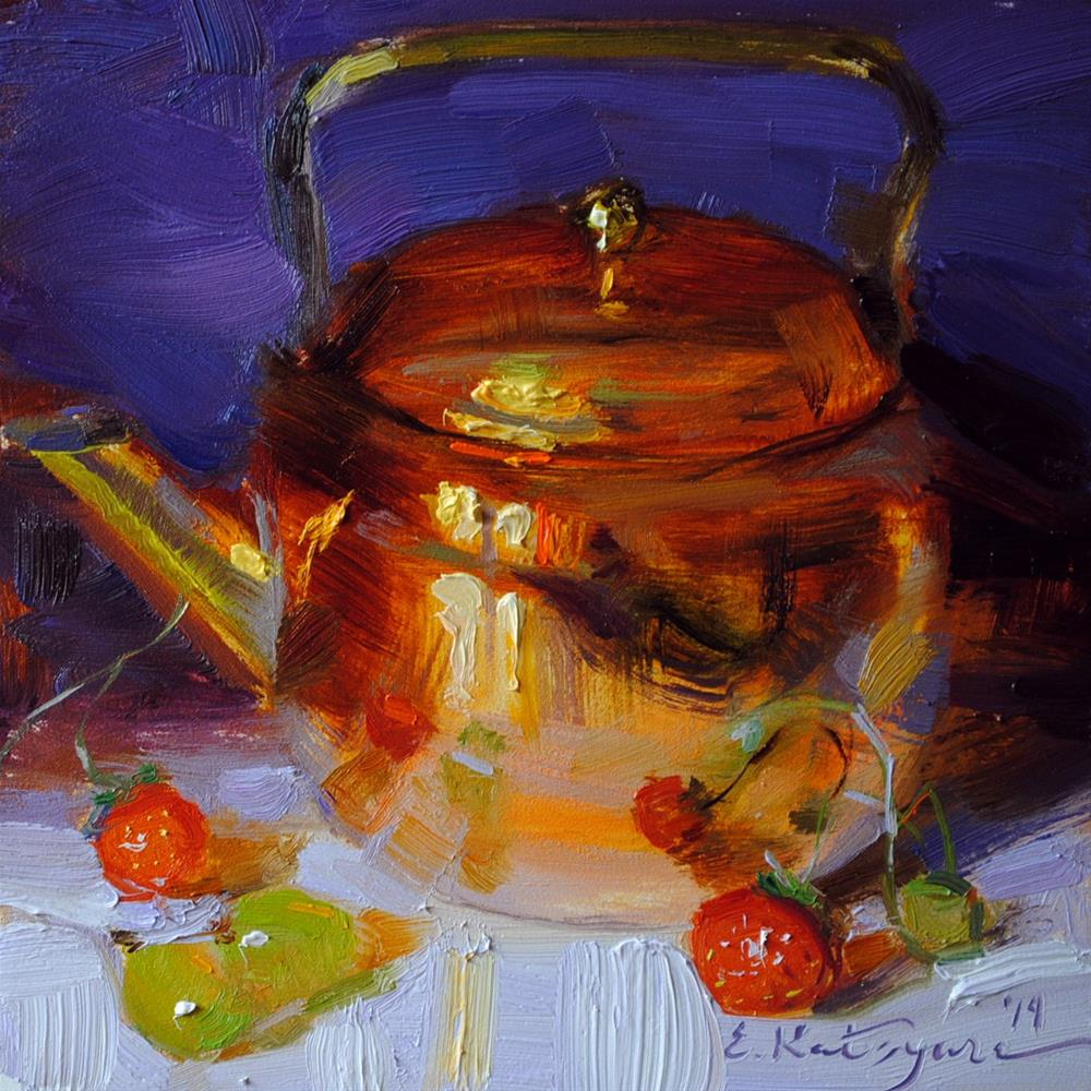 """Teapot on Purple"" original fine art by Elena Katsyura"