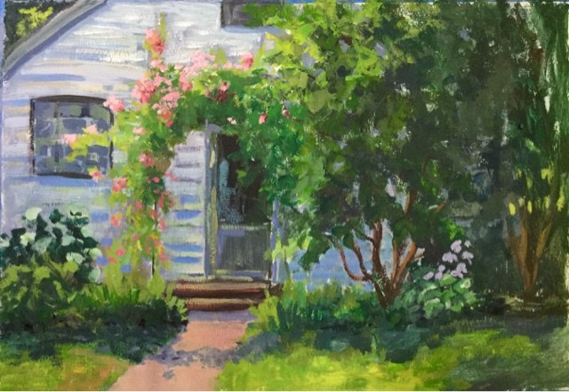"""My Neighbors Trellis"" original fine art by Judith Anderson"