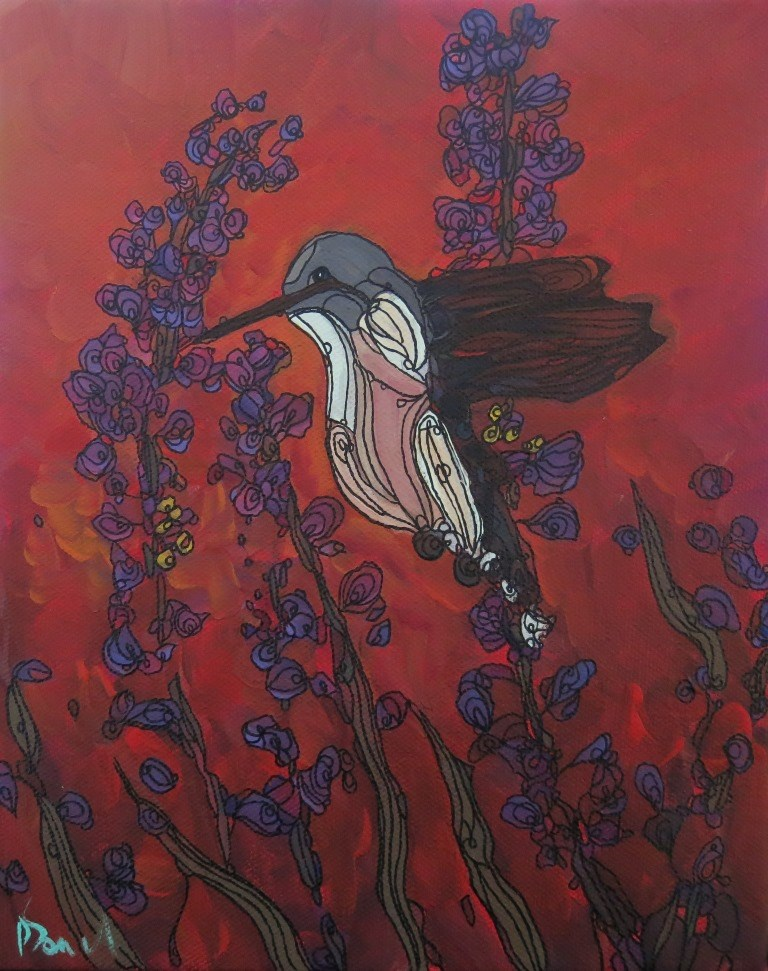 """#107 HUMMER"" original fine art by Dee Sanchez"
