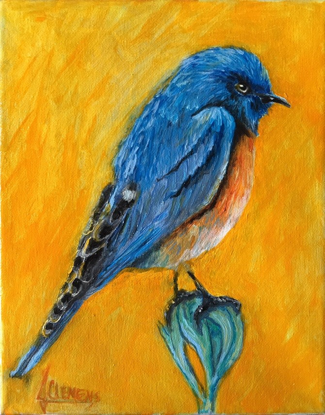 """Bird study-   Blue Bird"" original fine art by Jolynn Clemens"