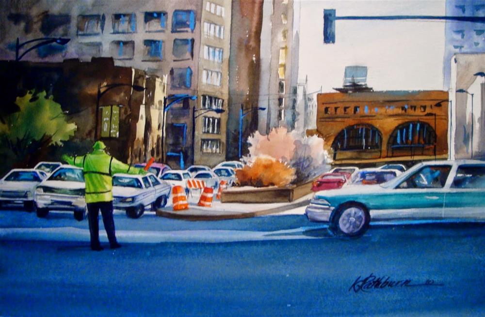 """You Stop !  You Go !"" original fine art by Kathy Los-Rathburn"