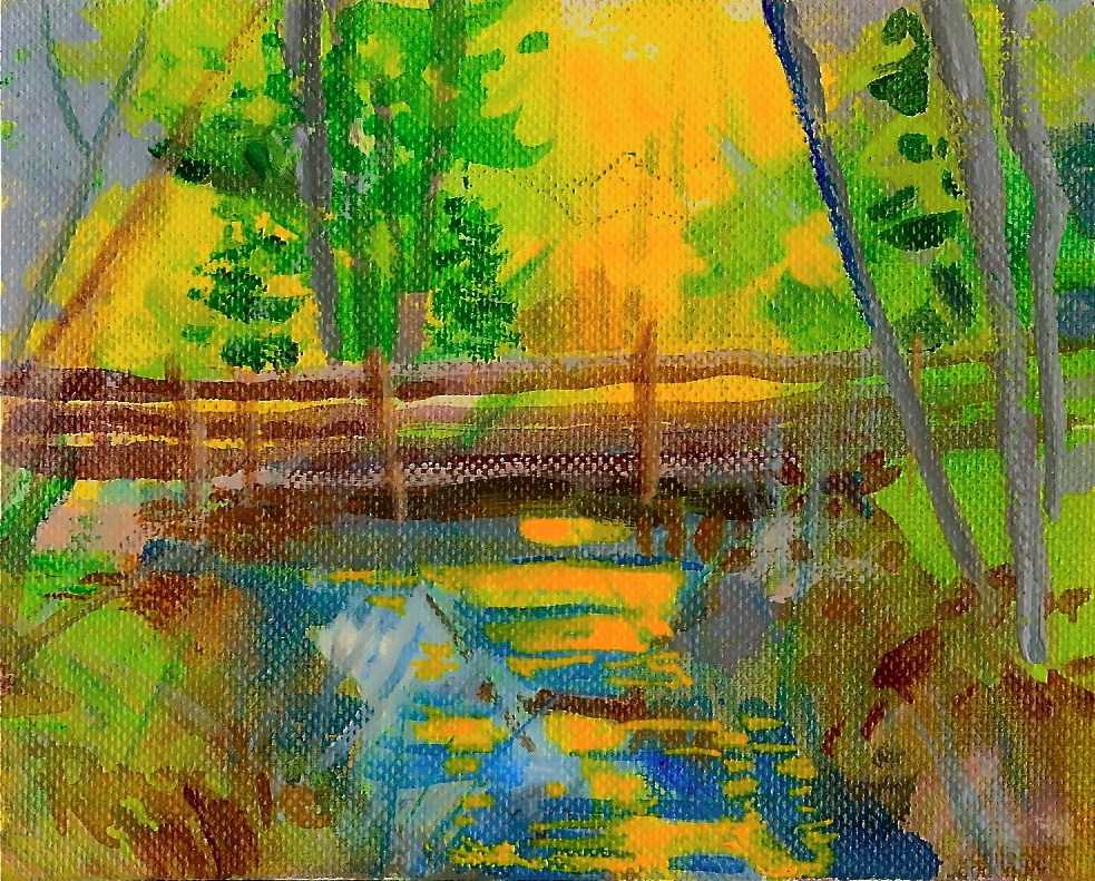 """Sun Under the Bridge original acrylic"" original fine art by Reveille Kennedy"