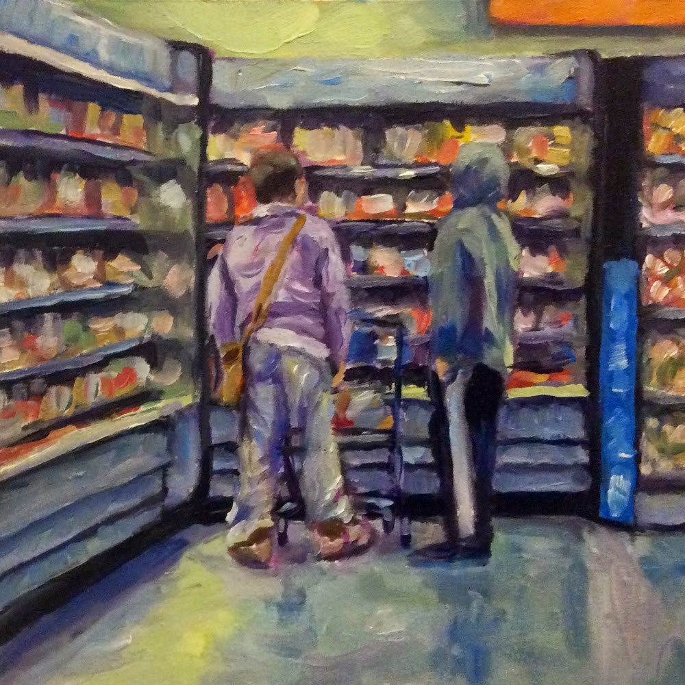 """Grocery shopping"" original fine art by Kerry Forsythe"