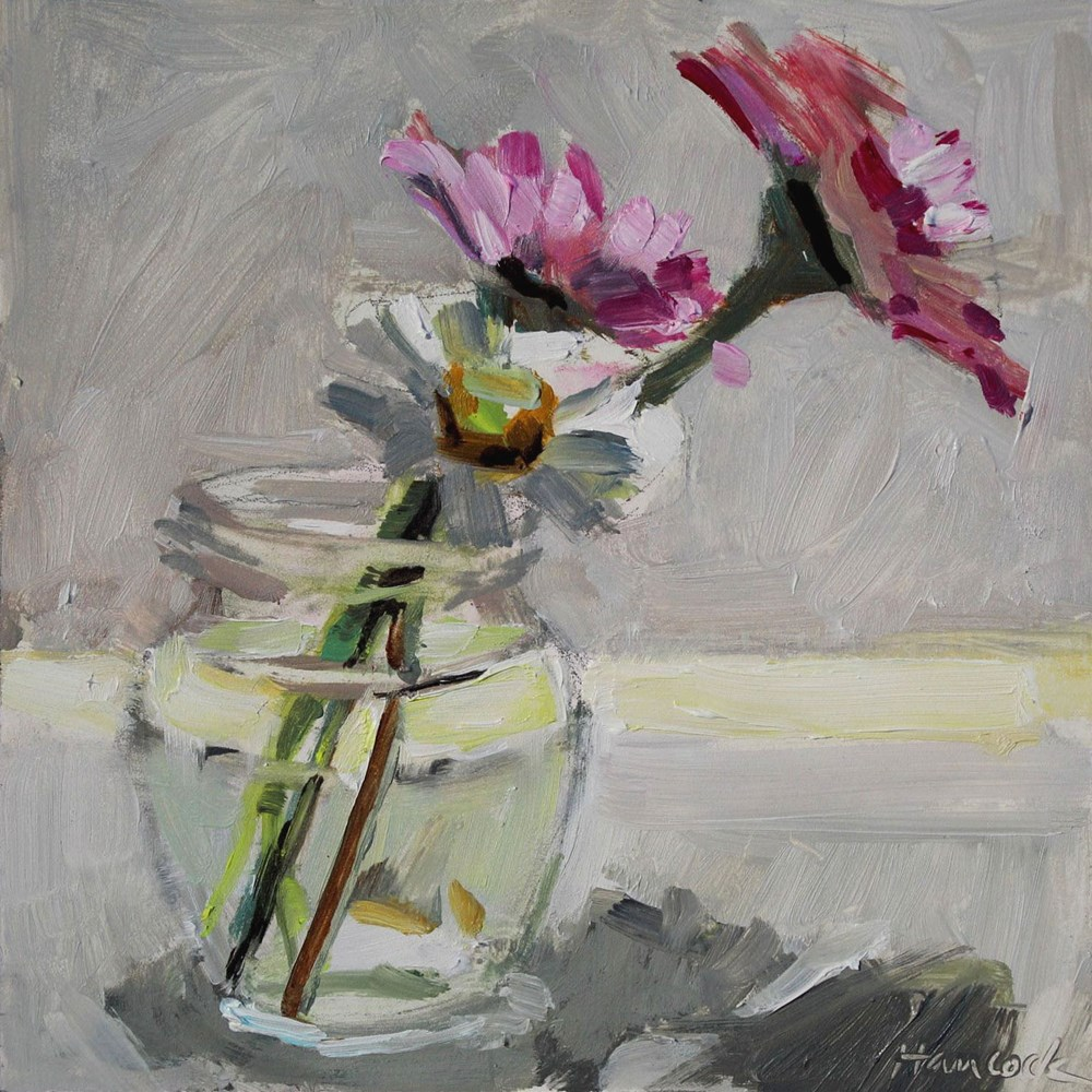 """Zinnias in a Glass Jar with Top Light"" original fine art by Gretchen Hancock"