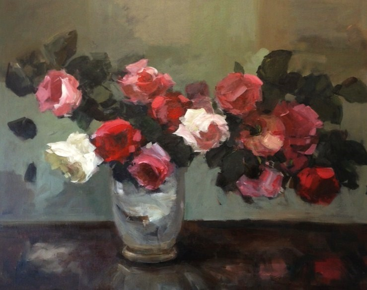 """Roses on a windowsill"" original fine art by Parastoo Ganjei"
