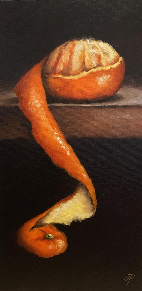 """long peeled Clementine"" original fine art by Jane Palmer"
